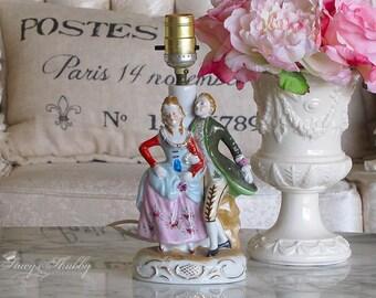 Adorable Petite PORCELAIN COUPLE LAMP, French, Victorian, Table Lamp, Boudoir, Shabby Chic