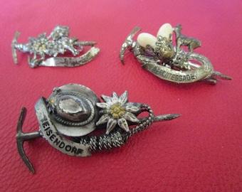 3 Vintage German Bavarian Alpine Hiking Hat Pins,Edelweiss, Deer Teeth Berchtesgadener Land Climber Mountaineer Pick Stag, Badge Souvenir