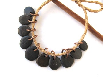 Rock Beads Small Mediterranean Natural Stone River Stone Jewelry Supplies Pairs Copper DARK CHARMS 10-11 mm