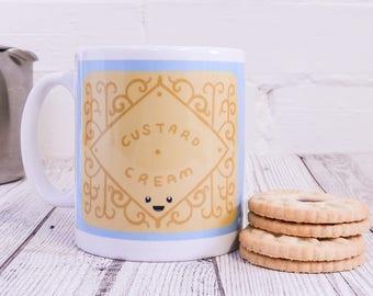Custard Cream Biscuit mug - gift for biscuit lovers - biscuit illustration