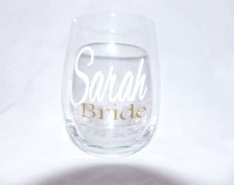Personalized Stemless Wine Glass, Wine glass, stemless monogrammed, Bride wine glasses, Bridal party wine glasses,
