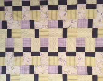 Modern Unfinished Baby Quilt Top - Yellows & Grays