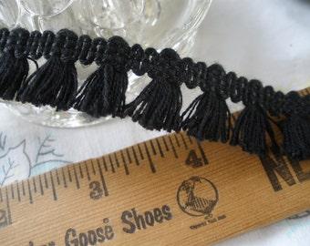 "Black tassel fringe trim .75"" wide Hippie Boho retro BTY yards crafts costume small fringe"