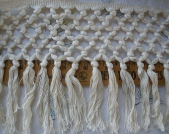 "Boho Macrame Fringe trim 6"" wide cotton blend knotted fringe alternating knots pattern retro BTY craft costume home decor shower curtain"