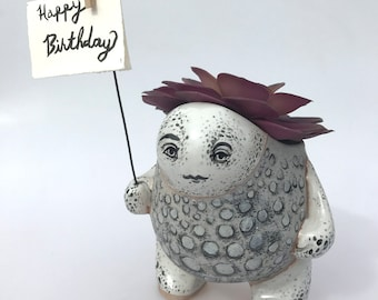 White Spotted Creature Pot