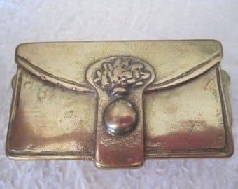 Brass Stamp Box Postage Stamp or Trinket Holder Desk Accessory