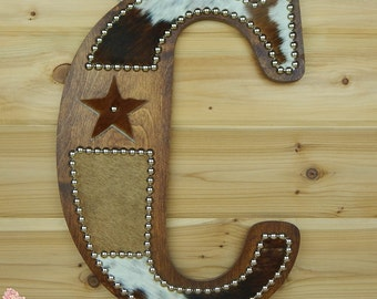 Cowhide Wall Letter C - Made to Order, Western Home Decor, Wall Hanging, Cowboy Nursery, Monogram