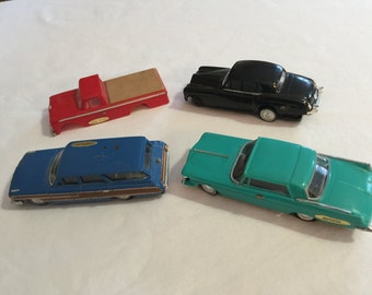 Ideal Motorific Battery Operated Interchangeable Bodies 3 Cars and a Ford Truck Body 1964 WORKING