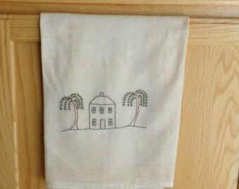 Flour Sack Tea Towel, Original Design, Kitchen Tea Towel,  Tea Stained Dish Towel, Primitive Decor, Folk Art Design, Embroidered Towel