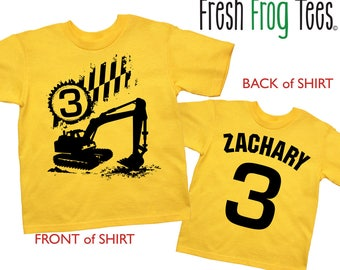 Excavator Birthday Shirt - any age and name -Construction Party
