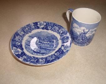 vintage palissy potteries cup saucer set demitasse thames river scenes tea coffee