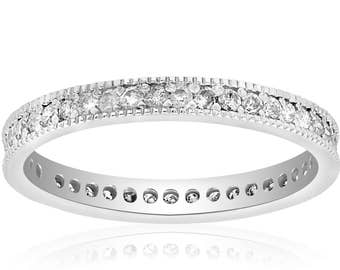 Diamond Eternity Ring, 3/8CT Diamond Wedding Ring, White Gold Stackable Band Art Deco Vintage Anniversary Ring 14 KT White Gold