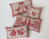 PDF Birds of a Feather Pincushion cross stitch patterns by Modern Folk at thecottageneedle.com monochromatic Nordic Scandinavian Winter