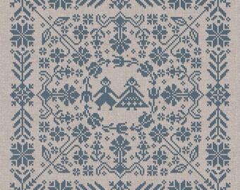 PDF Swedish Folk Cushion cross stitch patterns by Modern Folk at thecottageneedle.com monochromatic Spring