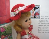 "Fits 8"" Ginny Vogue Doll .. Red Brimmed Hat ...D1269"