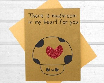 Funny Greeting Card - Funny Mushroom Card - Food Card - Pun Card - Kawaii Card - Funny Friend Card - Cute Card - Valentines Card