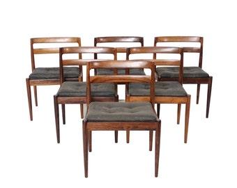 "Vintage Mid Century Modern Set of 6 Rosewood ""Universe 301"" Chairs by Kai Kristiansen"