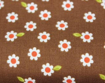Brown Indian Summer White flower pattern Cotton Fabric. Totes, Bags, Purses, fashion apparel, quilting, baby sewing projects, summer dress