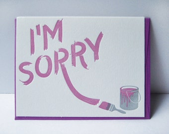 I'm sorry - letterpress card - graffitti - paint - texture - typography - paintbrush - blue - mural - apology - regret - sorry