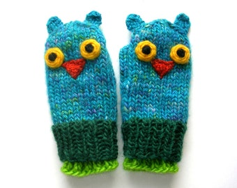 Owl Mittens, Hand Knit, 2 - 3 year old size