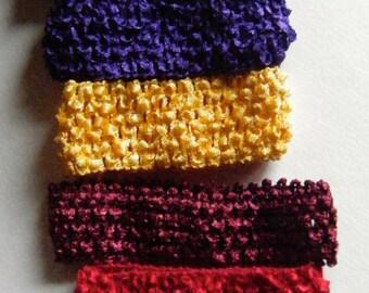 Crochet Headbands Assorted Colors Set of Seven//Destash
