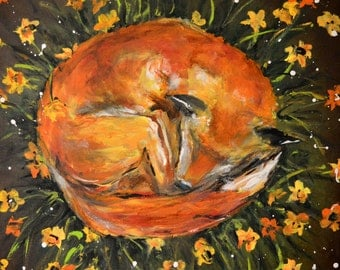 Fox in the Flowers Gallery Canvas Art Print