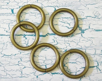 5 Chunky Brass Rings Jewelry Supply Mixed Media Supply
