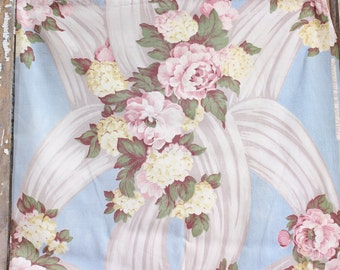Romantic Shabby Cottage Chic Pink Cabbage Rose Swaged Vintage Sky Blue Fabric