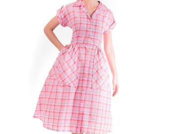 1940's Plaid Cotton Day Dress/ 40's Pink Day Dress