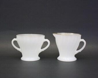 Vintage Fire King 'Suburbia' Swirl Milk Glass Cream & Sugar Set (E8121)