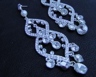 Long dangle large statement bridal chandelier earrings, sparkling rhinestone drop earrings - Rosa