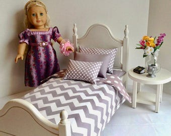 """Classic Elena bed with gray Chevron for the 18"""" American Girl Boy dolls"""