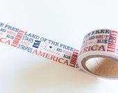 USA Washi Tape WIDE Roll Red White & Blue Words 4th of July Holiday Patriotic Sayings Independence Day America Craft Planners planner crafts