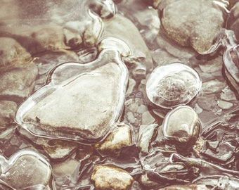 Ice Encased Rocks II, Nature Photography, Fine Art Print, Pebbles, Water, Stones, Winter, Pebbles, Lake Home Decor, Natural Wall Art