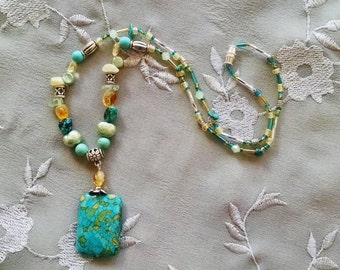 Turquoise citrine pendant necklace, turquoise citrine necklace with silver, freshwater pearl, aquamarine and fluorite