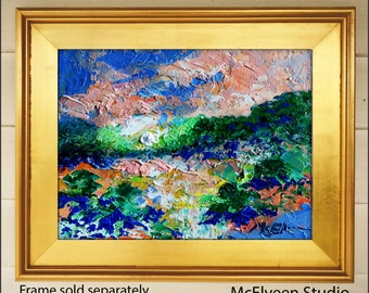 October High Country  - Original Abstract Oil Painting Landscape Painting by Claire McElveen - Available  Framed Ready To Hang