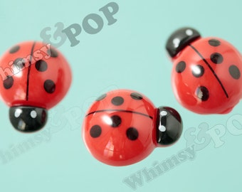 Red Black Ladybug Flatback Cabochons, Ladybug Cabochons, 15mm x 19mm (R6-012)