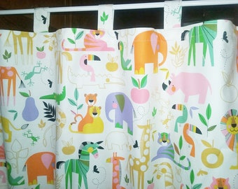 """TAB TOP Baby Toddler  Valance Cotton ANIMAL  Print 40""""x  16 1/2""""  Lined or Unlined"""