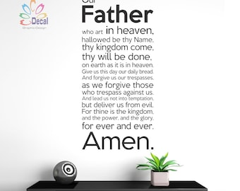 Lord's Prayer Decal: Our father who art in heaven... Lord's Prayer, Christian Decal, Church Decals, Christ Decor, Bible Decal Q337