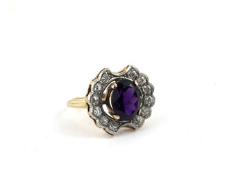 Edwardian 14K Gold, Palladium, Amethyst & Diamond Antique Engagement Ring