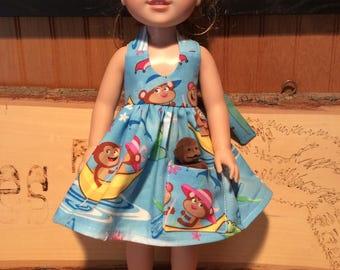 "Monkeys, Banana Boat, 14"" doll clothes, fit Wellie Wisher, pocket, toy monkey"