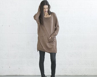 Winter Sale-Pocket Knitted dress - Brown.