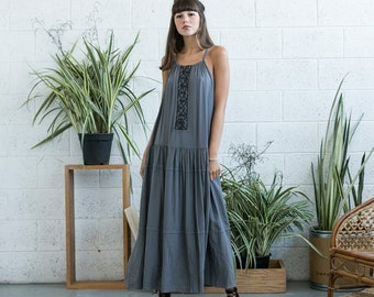Embroidered Maxi Dress, Grey Maxi Dress, Grey Boho Dress,Tank maxi dress .