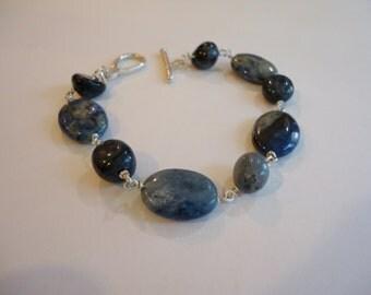 Dumortierite Bracelet, Blue Gemstone Bracelet, Blue Wire Wrapped Bracelet