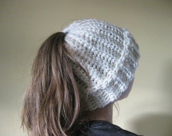 Ponytail Hat, Crochet Messy Bun Hat