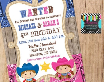 Co-ed Cowboy - twins or siblings - invitation - YOU PRINT