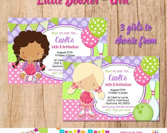 LITTLE BOWLER - GIRL invitation - 3 to choose, You Print