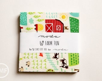 Farm Fun Charm Pack, Stacy Iest Hsu, Moda Fabrics, Pre-Cut Fabric Squares, 20530PP