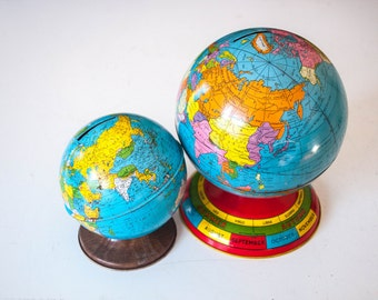 Pair of Vintage Metal Globe Banks