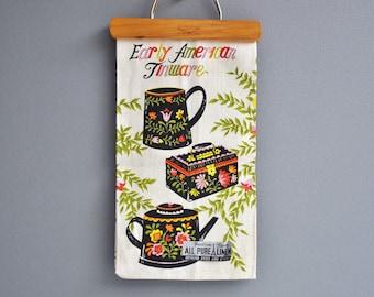 Vintage Unused Fruit Bowl Linen Tea Towel